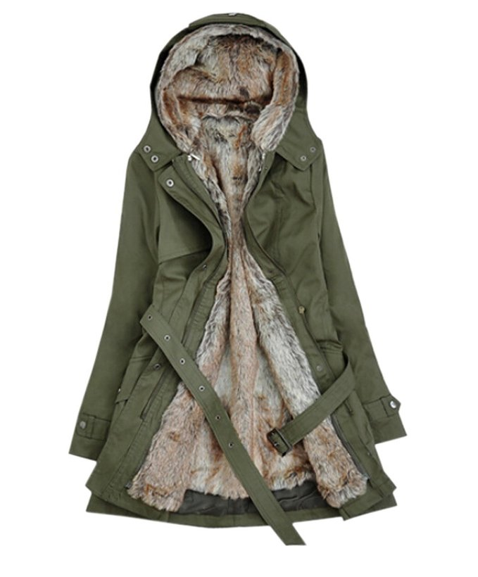 Hot Hooded Trench with Faux Fur