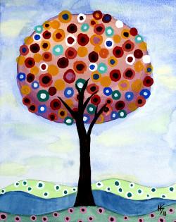 Pretty Polka Dot Tree Art