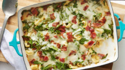 Cheese Tortellini Casserole With Bacon And Spinach Recipe.