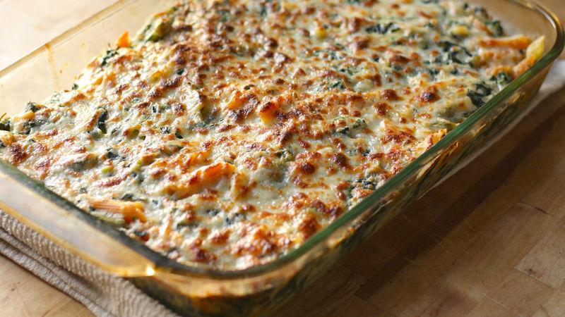 Spinach Dip Pasta Bake