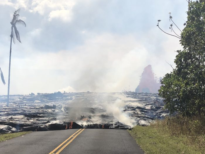 Lava Swallows Entire Road in Hawaii