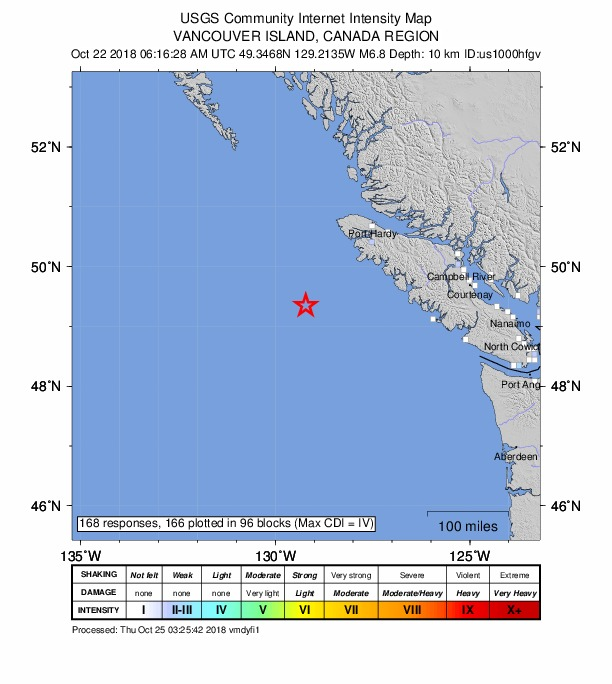 Canada Earthquake: 6.8 Rocks Vancouver Island