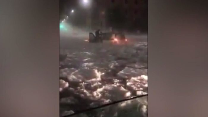 Freak Hailstorm Floods Rome Leaving Residents Trapped