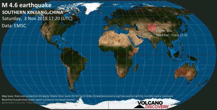 4.6 earthquake hits Southern Xinjiang, China