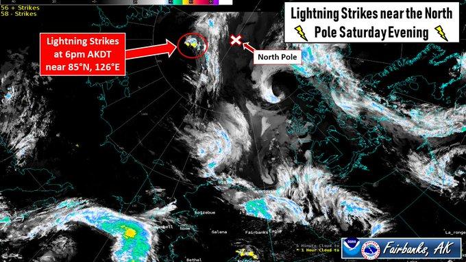 North Pole recently struck by lightning 4 dozen times
