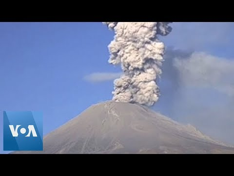 Popocatepetl Volcano in Mexico Spits Hot Rock & Ash